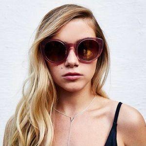 DIFF Luna Rose Glitter Cat Eye Pink Sunglasses